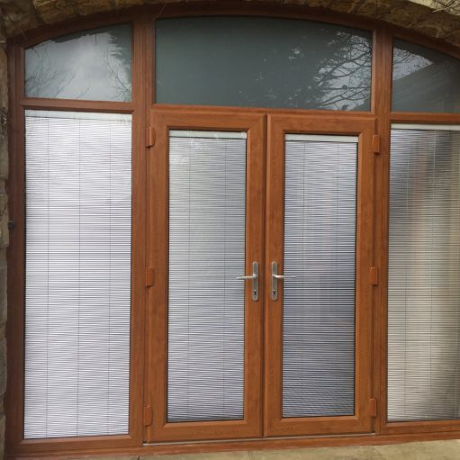 VEKA uPVC arched door with integral blinds