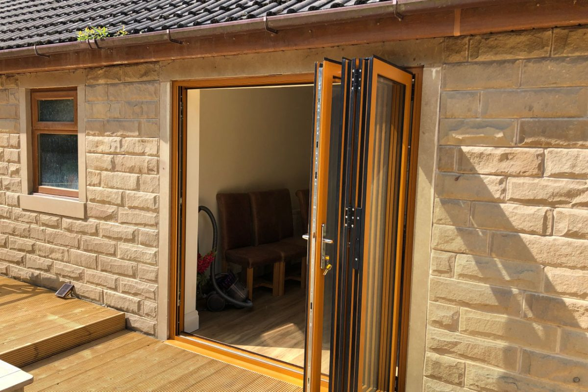 Sliders UK bi fold doors with 3-3-0 configuration (open), Brierfield